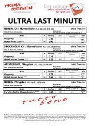ULTRA LAST MINUTE HAMBURG, Pfingsten 17.5.-20.5.13 (FR-MO)