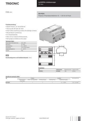 luxCONTROL-Lichtsteuerungen DSI Aktor DSI-PCD/S ... - Tridonic