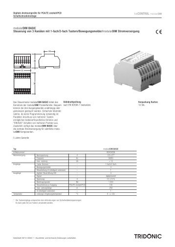 luxCONTROL modularDIM modularDIM BASIC Steuerung ... - Tridonic