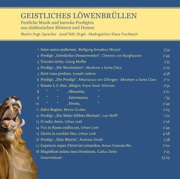 GEISTLICHES LÖWENBRÜLLENN - Trierer Orgelpunkt