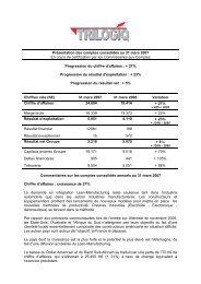 Présentation des comptes consolidés au 31 mars 2007 - trilogiq