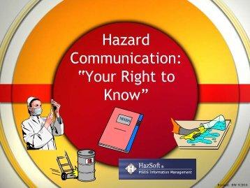 "Hazard Communication: ""Your Right to Know"" - Trinitas Hospital"