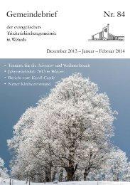 Nr. 84: Dezember 2013 - Januar - Februar 2014 - Evangelische ...