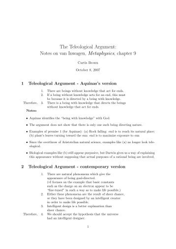 Notes on van Inwagen, Metaphysics, chapter 9 - Trinity University