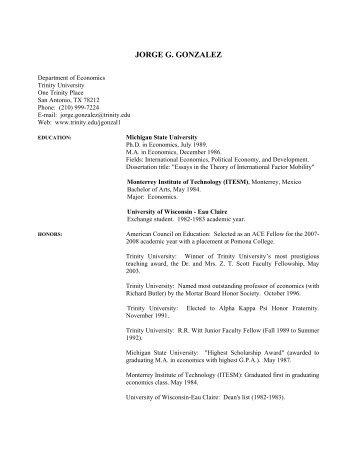 JORGE G. GONZALEZ - Trinity University