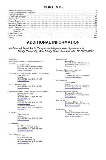 2006-2007 Academic Year - Trinity University