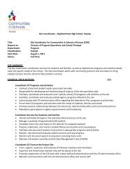 Site Coordinator – Highland Park High School, Topeka Title: Site ...