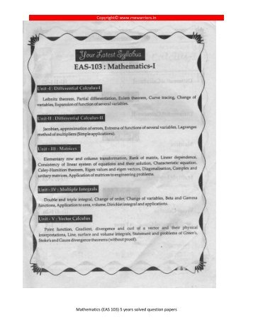 (EAS 103) 5 years solved question papers