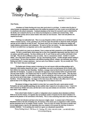 Attendance Letter from Headmaster - Trinity-Pawling School