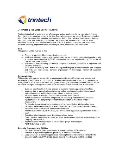 Job Posting Pre Sales Business Analyst Trintech