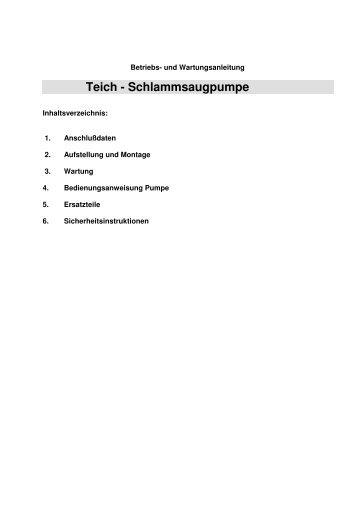 Anleitung für Teichschlammsauger - Tripond