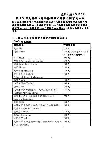 中華民國國民適用以免簽證或落地簽方式前往之國家與區域 - 福泰旅遊