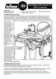 Dust Bag Instructions for Triton Compact