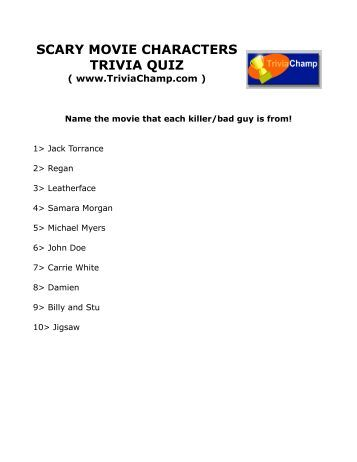 Horror Movie Trivia questions And Answers Printable lion King