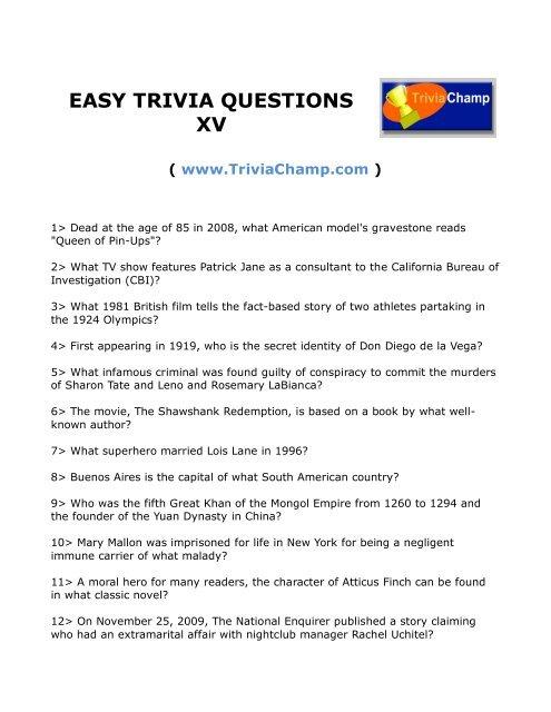 EASY TRIVIA QUESTIONS XV - Trivia Champ