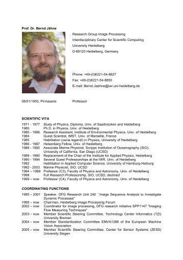Prof. Dr. Bernd Jähne Research Group Image ... - CellNetworks