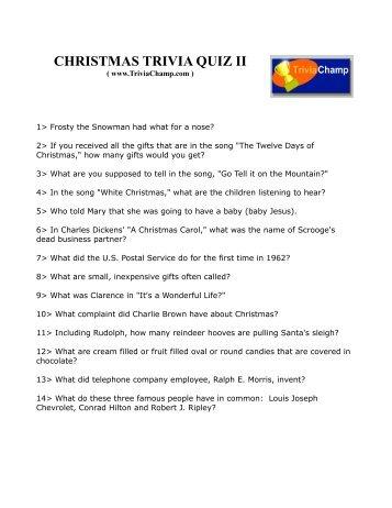 Christmas Trivia Questions And Answers Printable Printable Christmas