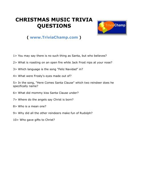 Christmas Trivia With Answers.Christmas Music Trivia Questions Trivia Champ