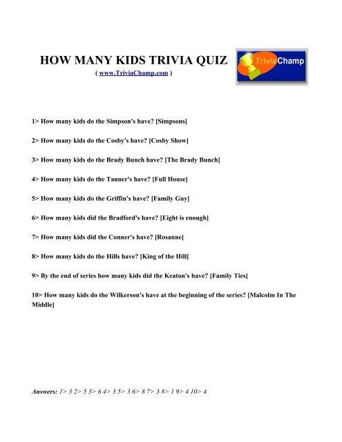HOW MANY KIDS TRIVIA QUIZ - Trivia Champ