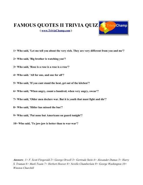 FAMOUS QUOTES II TRIVIA QUIZ - Trivia Champ