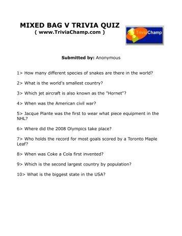 mixed bag quizzes