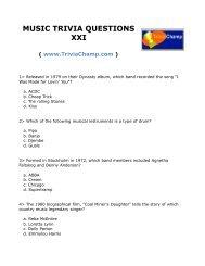 ASSORTED TRIVIA QUESTIONS - Trivia Champ
