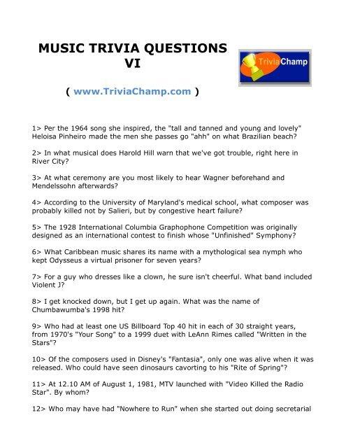 MUSIC TRIVIA QUESTIONS VI - Trivia Champ