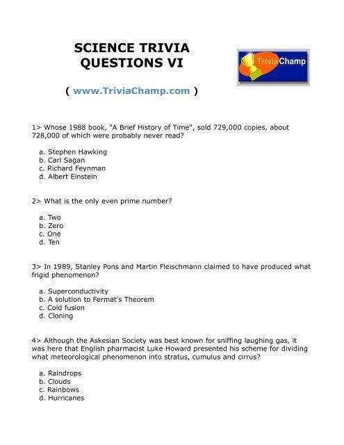 SCIENCE TRIVIA QUESTIONS VI - Trivia Champ