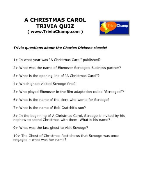 Christmas Carol Trivia.To Print This Quiz Trivia Champ