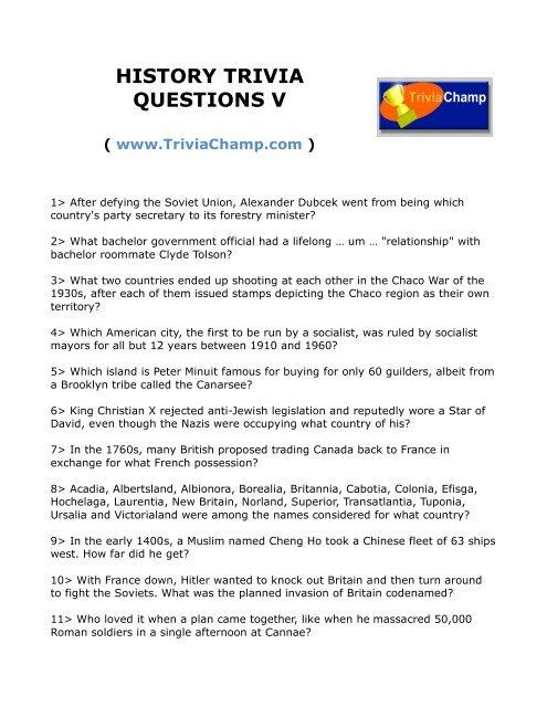 History Trivia Questions For Seniors