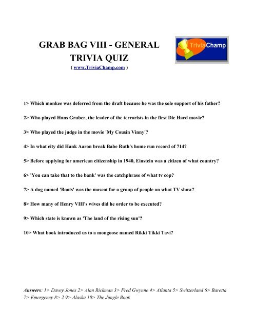 To Print This Quiz - Trivia Champ