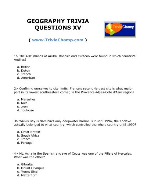 GEOGRAPHY TRIVIA QUESTIONS XV - Trivia Champ