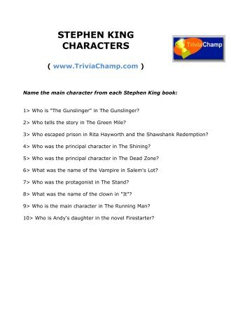 STEPHEN KING CHARACTERS - Trivia Champ