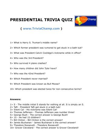 presidential trivia quiz trivia champ - Halloween Quiz For Kids