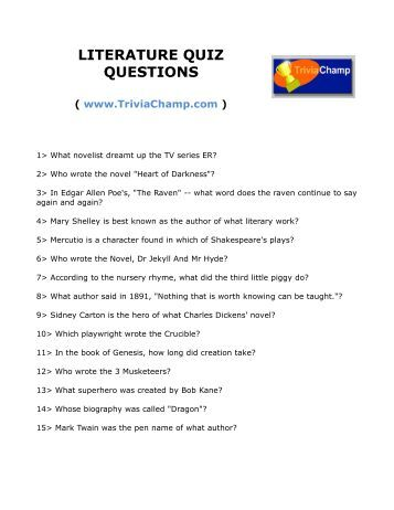 literature quiz questions and answers pdf