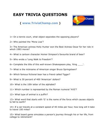 Easy Trivia Questions And Answers For Elderly Html Autos Weblog