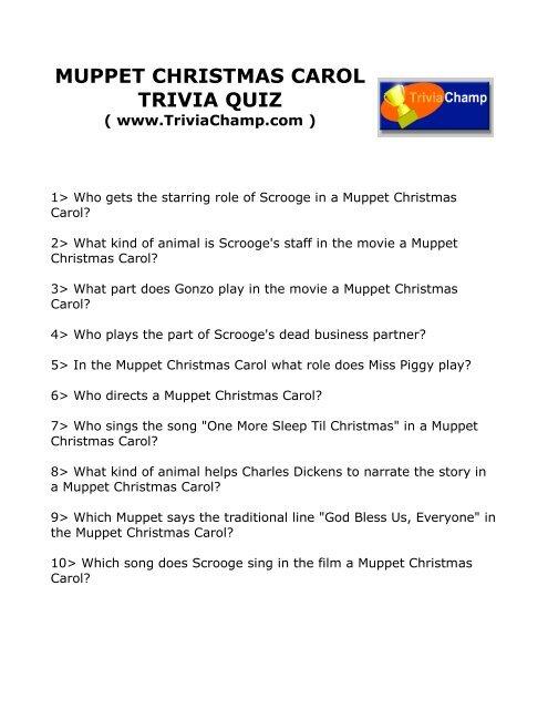 Christmas Carol Trivia.Muppet Christmas Carol Trivia Quiz Trivia Champ