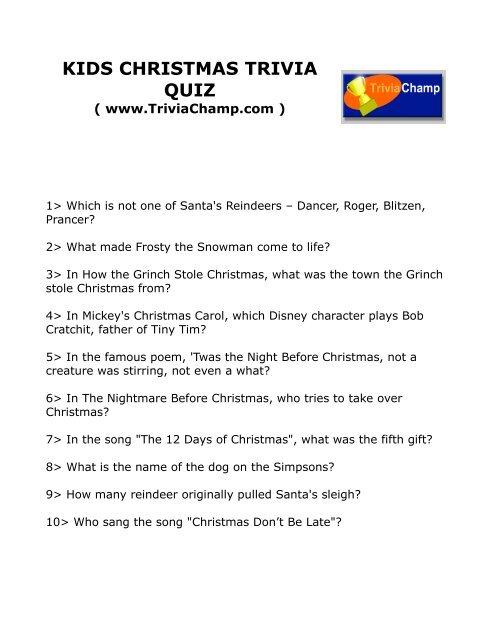 Christmas Carol Trivia.Kids Christmas Trivia Quiz Trivia Champ