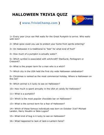 KIDS HALLOWEEN TRIVIA QUIZ - Trivia Champ