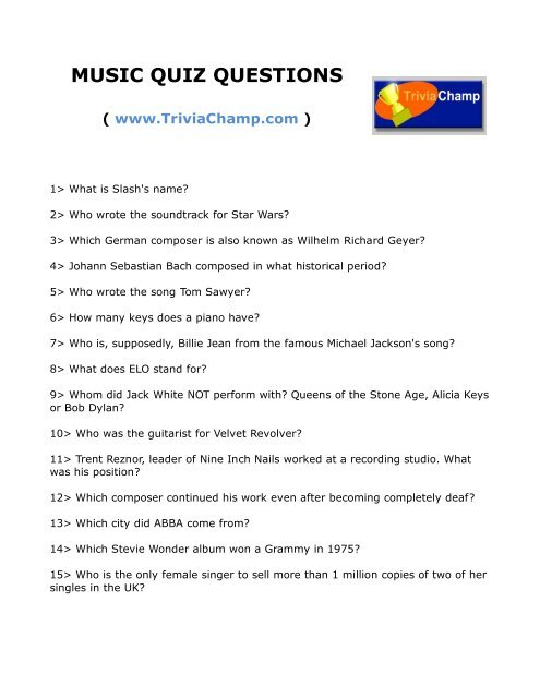 Music Quiz Questions Trivia Champ