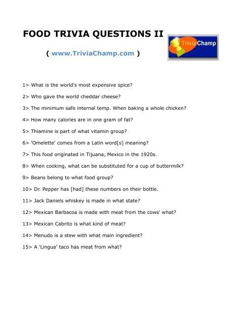 FOOD TRIVIA QUESTIONS II - Trivia Champ