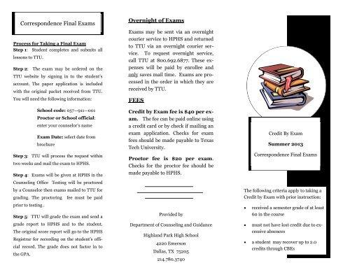 Texas Tech Online High School >> Summer Highland Park High School
