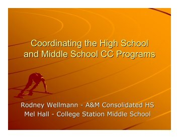 Coordinating the High School and Middle School CC Programs