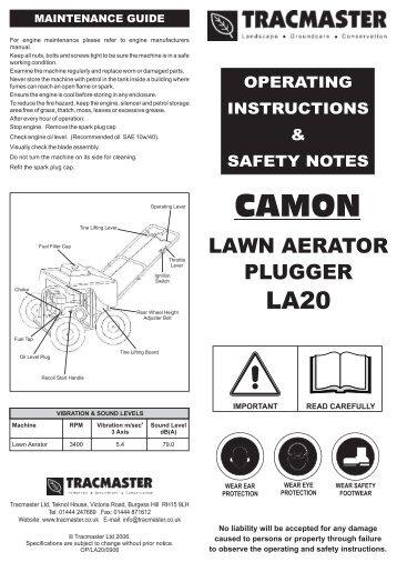 Camon - LA20 - Petrol Lawn Aerator - Exsel Plant & Tool Hire Ltd