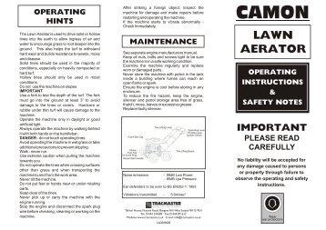 LA20 - Petrol Lawn Aerator - Exsel Plant & Tool Hire Ltd