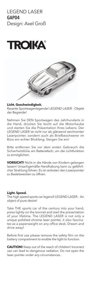 LEGEND LASER GAP04 Design: Axel Groß - Troika Germany GmbH