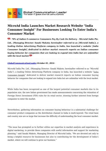 MicroAd India Launches Market Research Website
