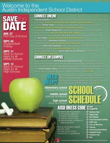 SCHOOL SCHEDULE - Austin ISD