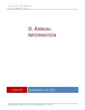III. Annual Information - Austin ISD