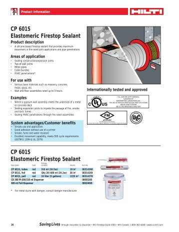 CP 601S Elastomeric Firestop Sealant - Brock White